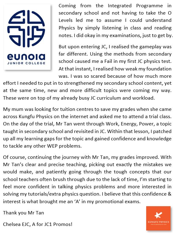 Eunoia JC student's testimonial for Kungfu Physics Tuition