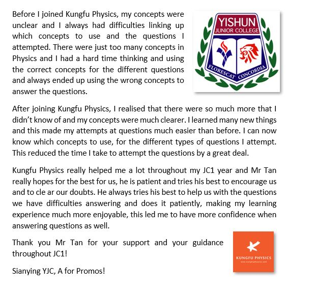 Yishun JC student's testimonial for Kungfu Physics Tuition
