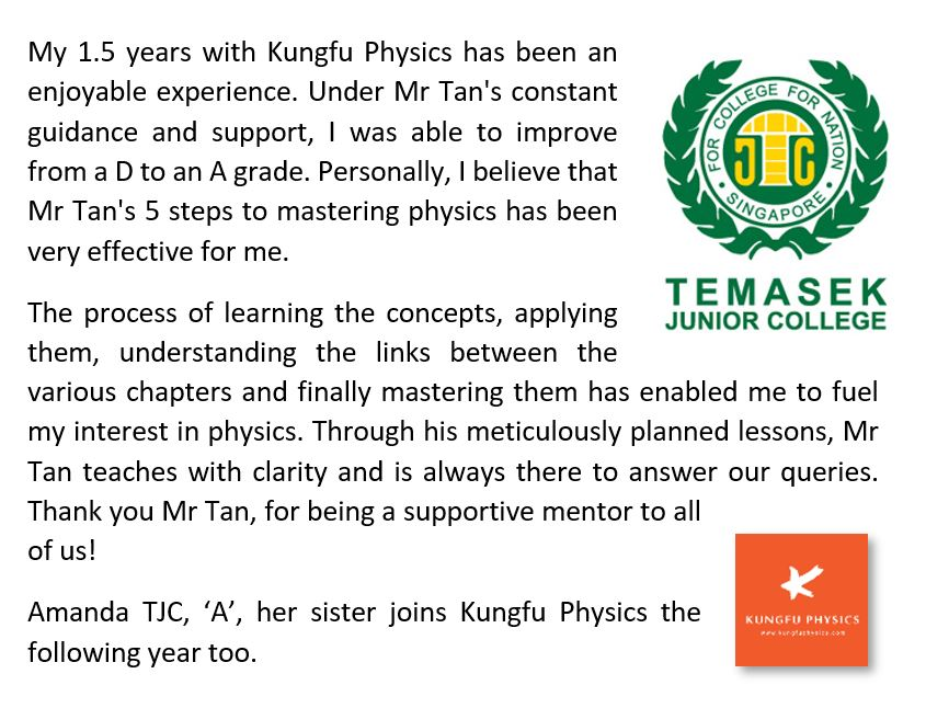 TJC student's testimonial for Kungfu Physics Tuition