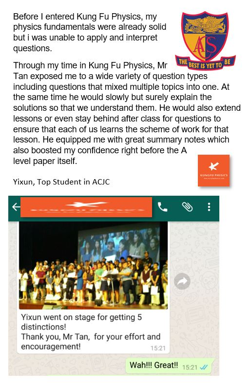 ACJC student's testimonial for Kungfu Physics Tuition
