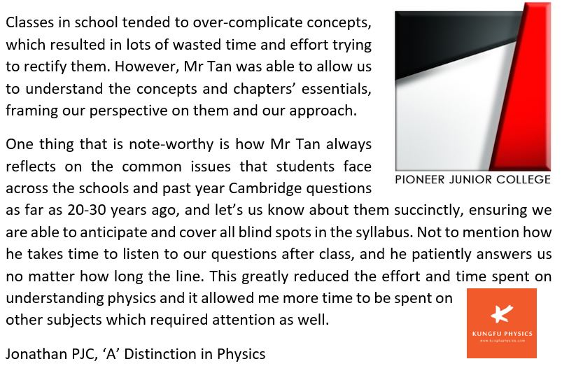 Pioneer JC student's testimonial for Kungfu Physics Tuition