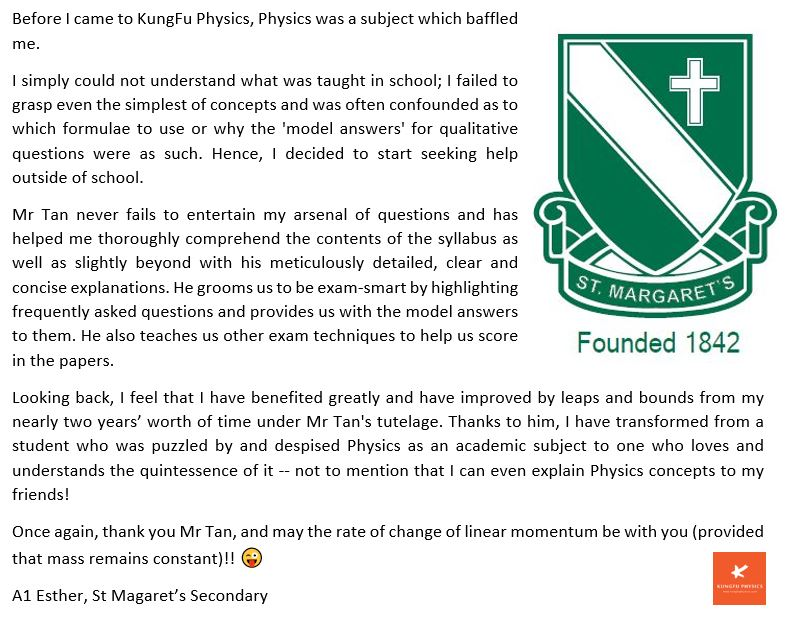 St Margaret student's testimonial for Kungfu Physics Tuition