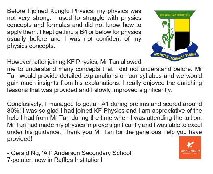 Anderson student's testimonial for Kungfu Physics Tuition