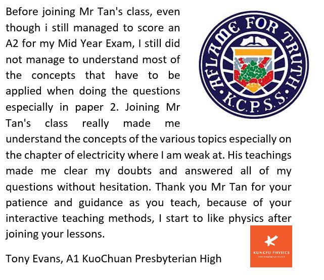 Kuochuan student's testimonial for Kungfu Physics Tuition