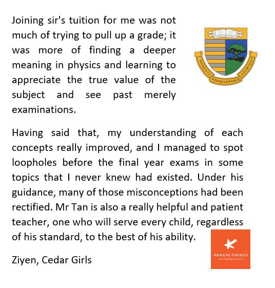 Cedar student's testimonial for Kungfu Physics Tuition