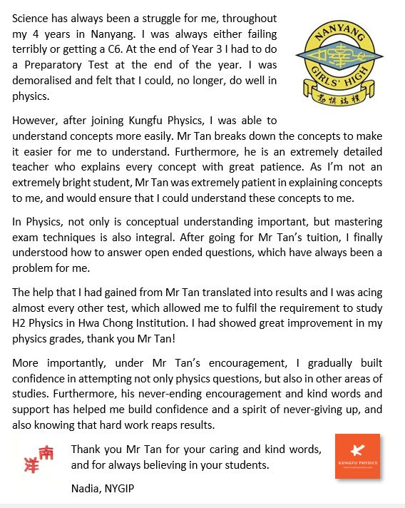 NYGH student's testimonial for Kungfu Physics Tuition