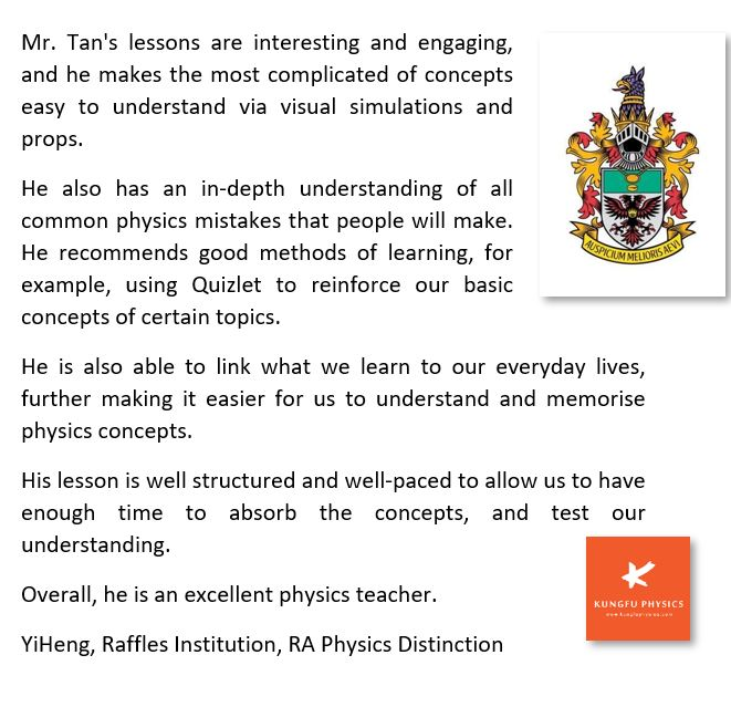 Raffles Institution student's testimonial for Kungfu Physics Tuition
