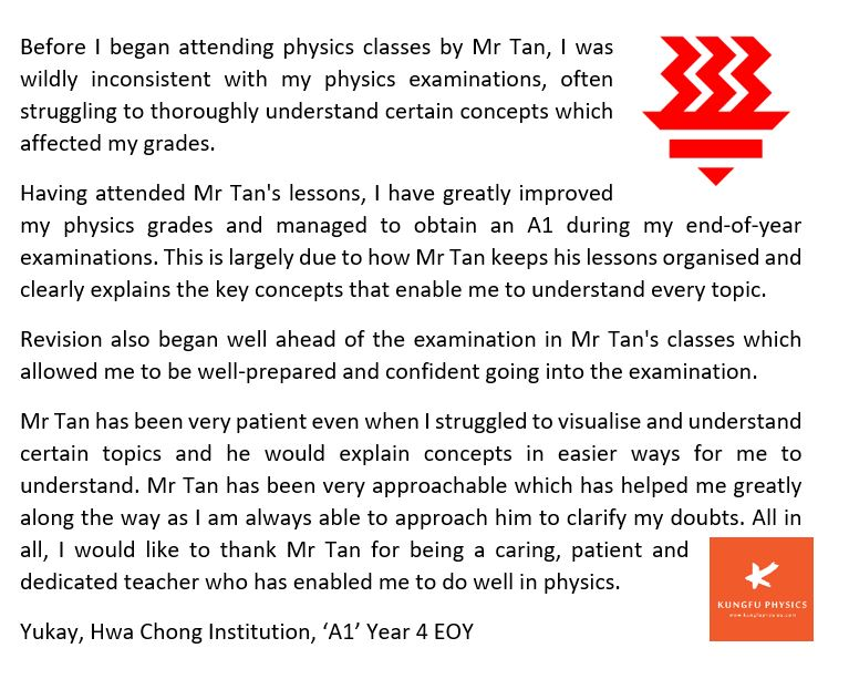 HCI student's testimonial for Kungfu Physics Tuition